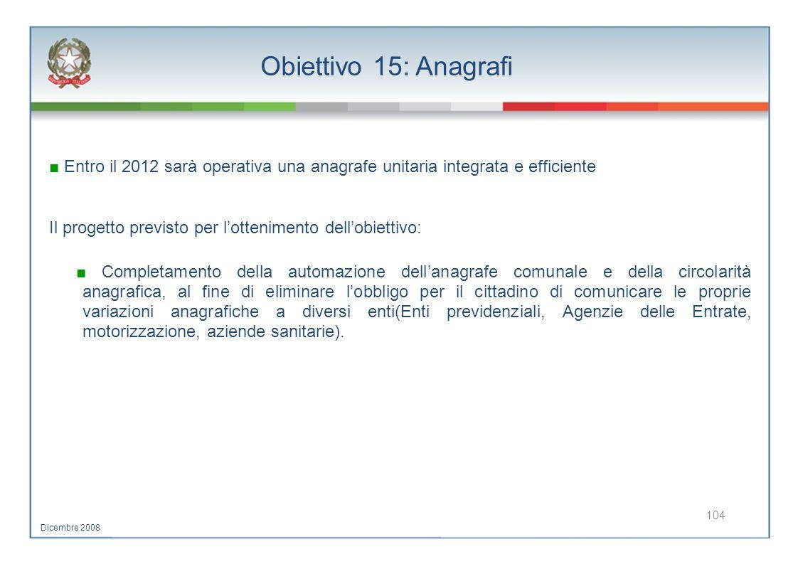 Obiettivo 15: Anagrafi Entro il 2012 sarà operativa una anagrafe unitaria integrata e efficiente Il progetto previsto per lottenimento dellobiettivo:
