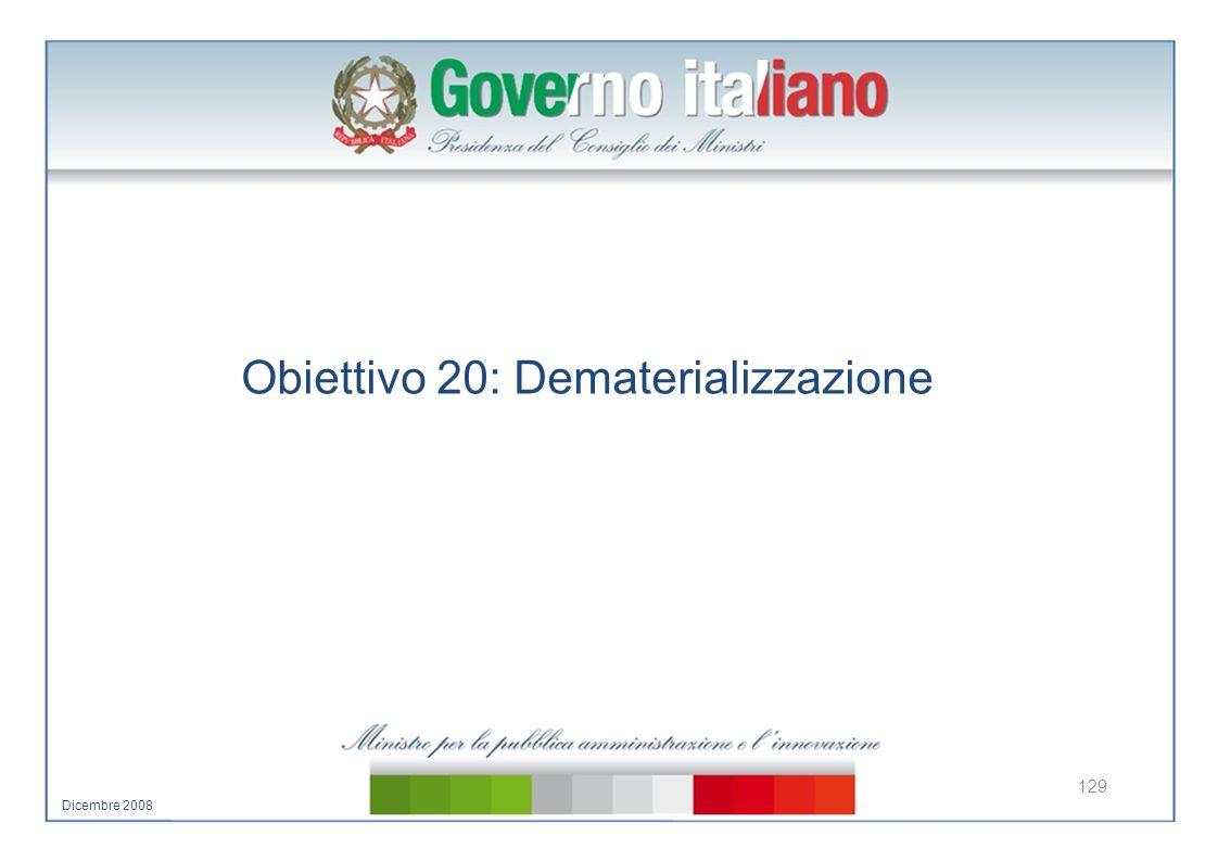 Obiettivo 20: Dematerializzazione 129 Dicembre 2008