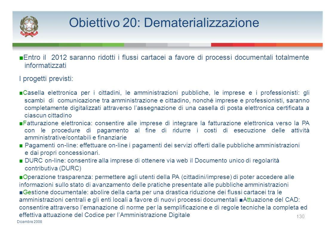 Obiettivo 20: Dematerializzazione Entro il 2012 saranno ridotti i flussi cartacei a favore di processi documentali totalmente informatizzati I progett