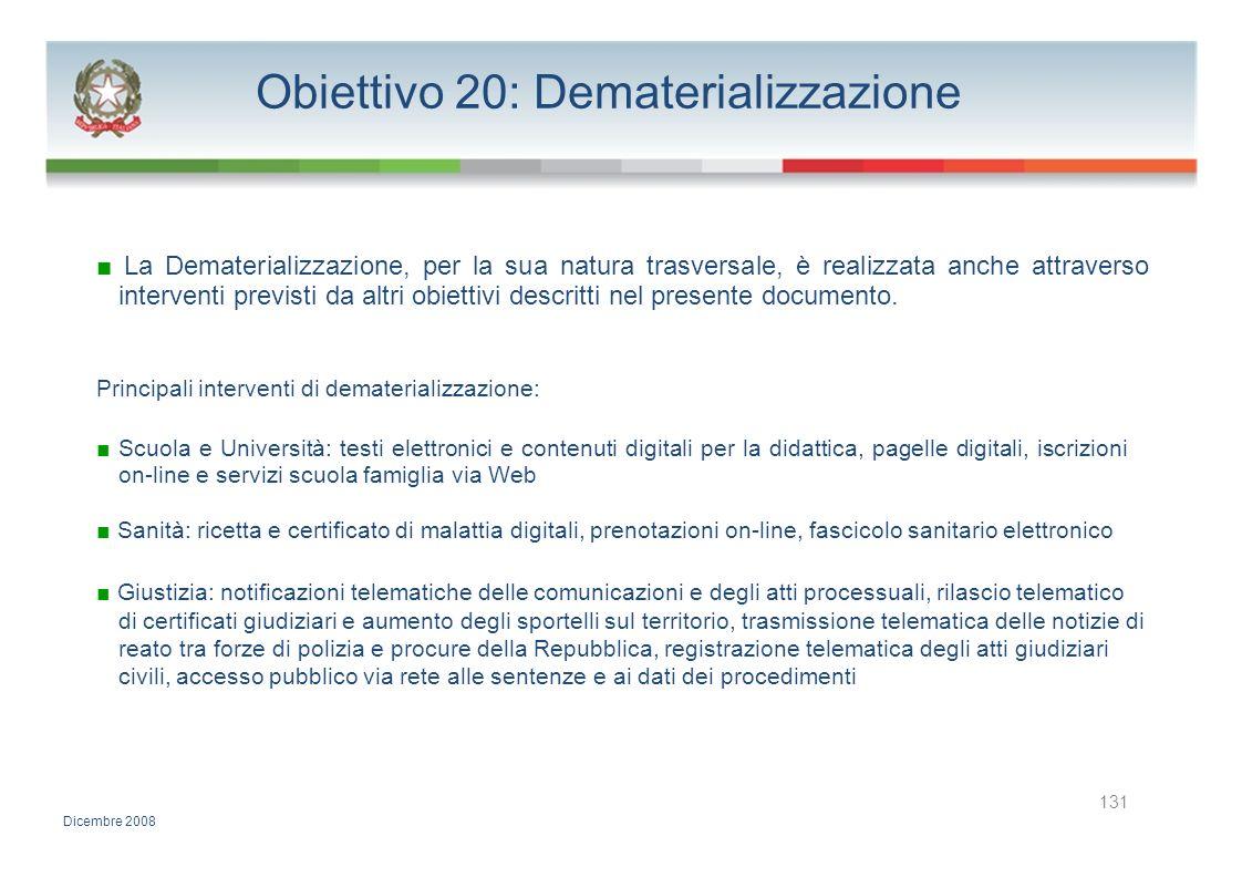 Obiettivo 20: Dematerializzazione La Dematerializzazione, per la sua natura trasversale, è realizzata anche attraverso interventi previsti da altri ob