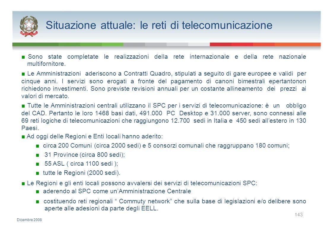 Situazione attuale: le reti di telecomunicazione Sono state completate le realizzazioni della rete internazionale e della rete nazionale multifornitor