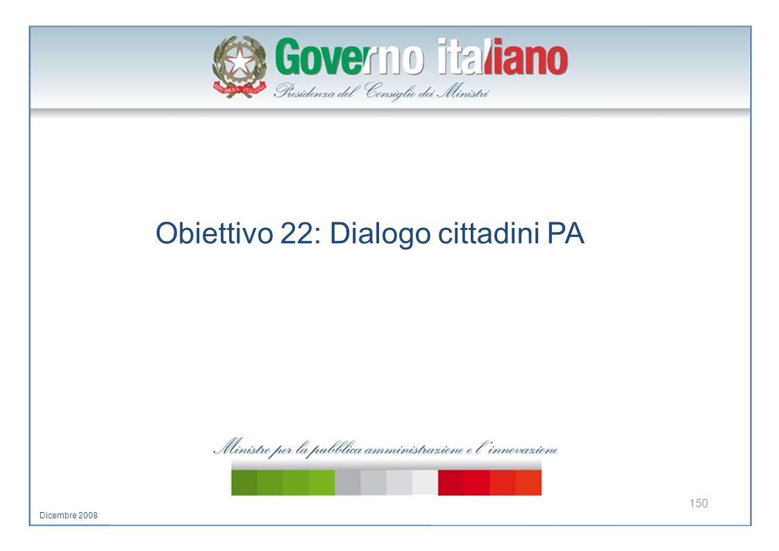 Obiettivo 22: Dialogo cittadini PA 150 Dicembre 2008