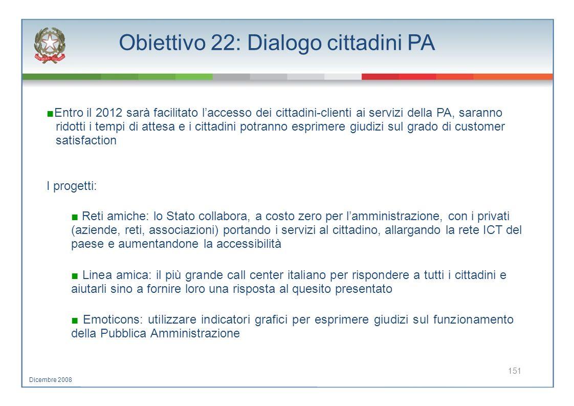Obiettivo 22: Dialogo cittadini PA Entro il 2012 sarà facilitato laccesso dei cittadini-clienti ai servizi della PA, saranno ridotti i tempi di attesa