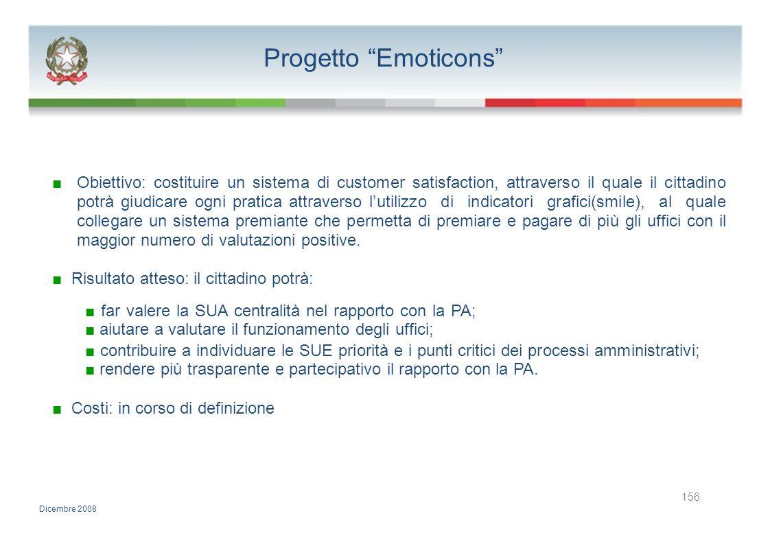 Progetto Emoticons Obiettivo: costituire un sistema di customer satisfaction, attraverso il quale il cittadino potrà giudicare ogni pratica attraverso