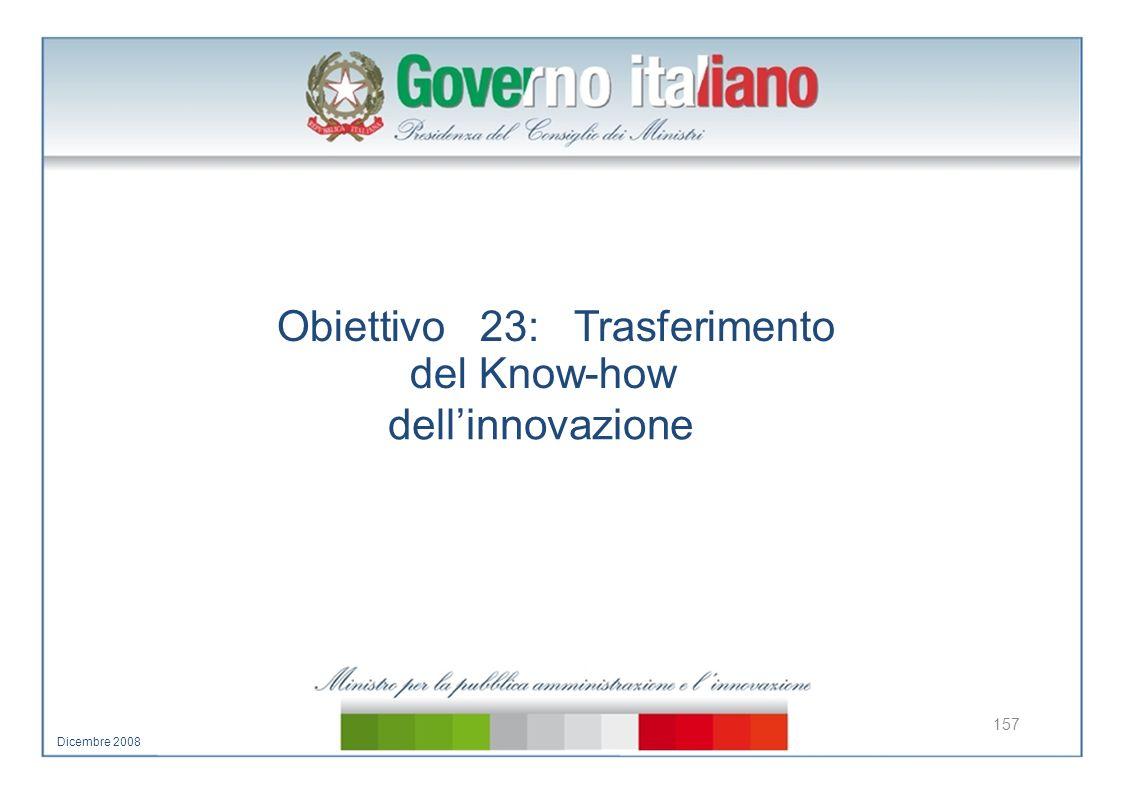 Obiettivo 23: Trasferimento del Know-how dellinnovazione 157 Dicembre 2008