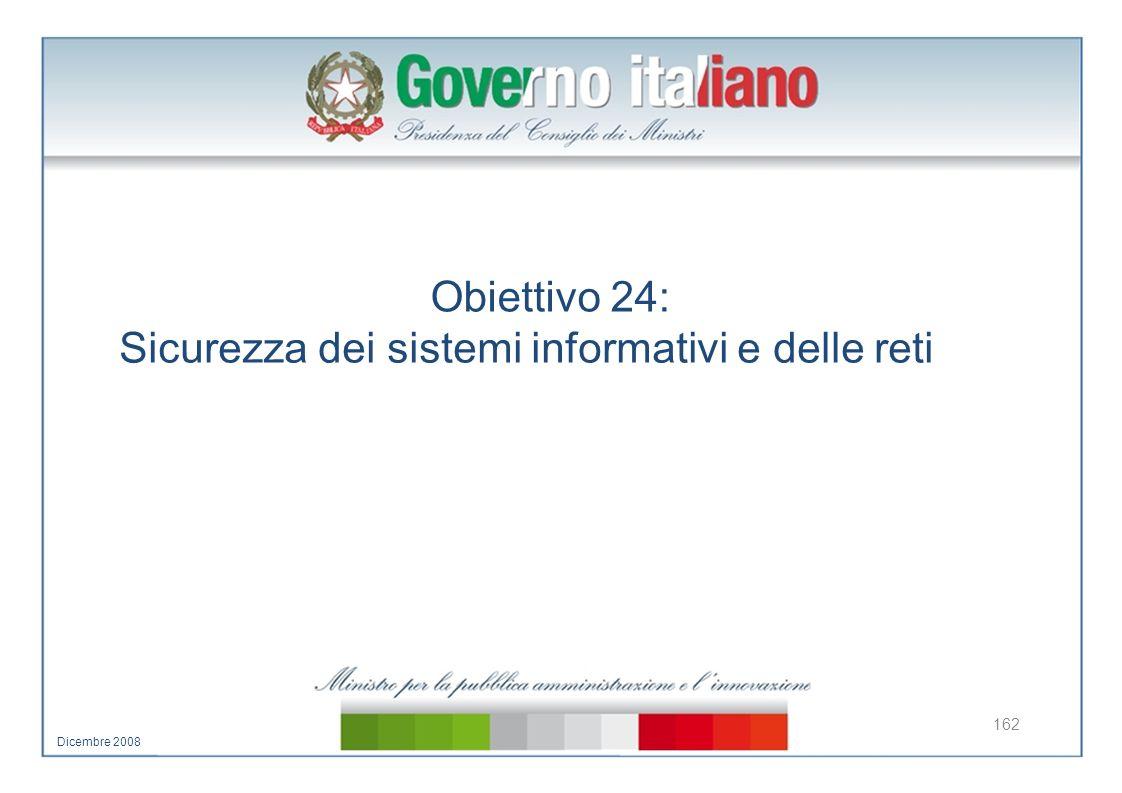 Obiettivo 24: Sicurezza dei sistemi informativi e delle reti 162 Dicembre 2008