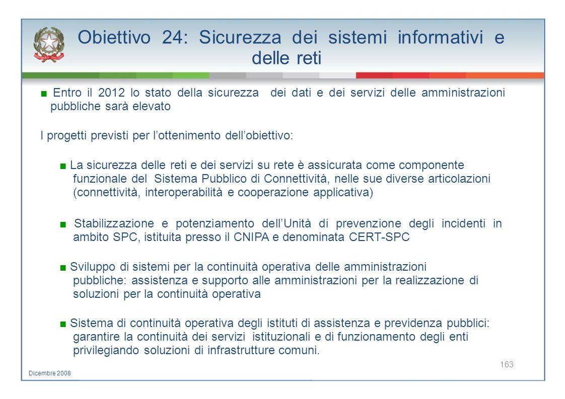Obiettivo 24: Sicurezza dei sistemi informativi e delle reti Entro il 2012 lo stato della sicurezza dei dati e dei servizi delle amministrazioni pubbl