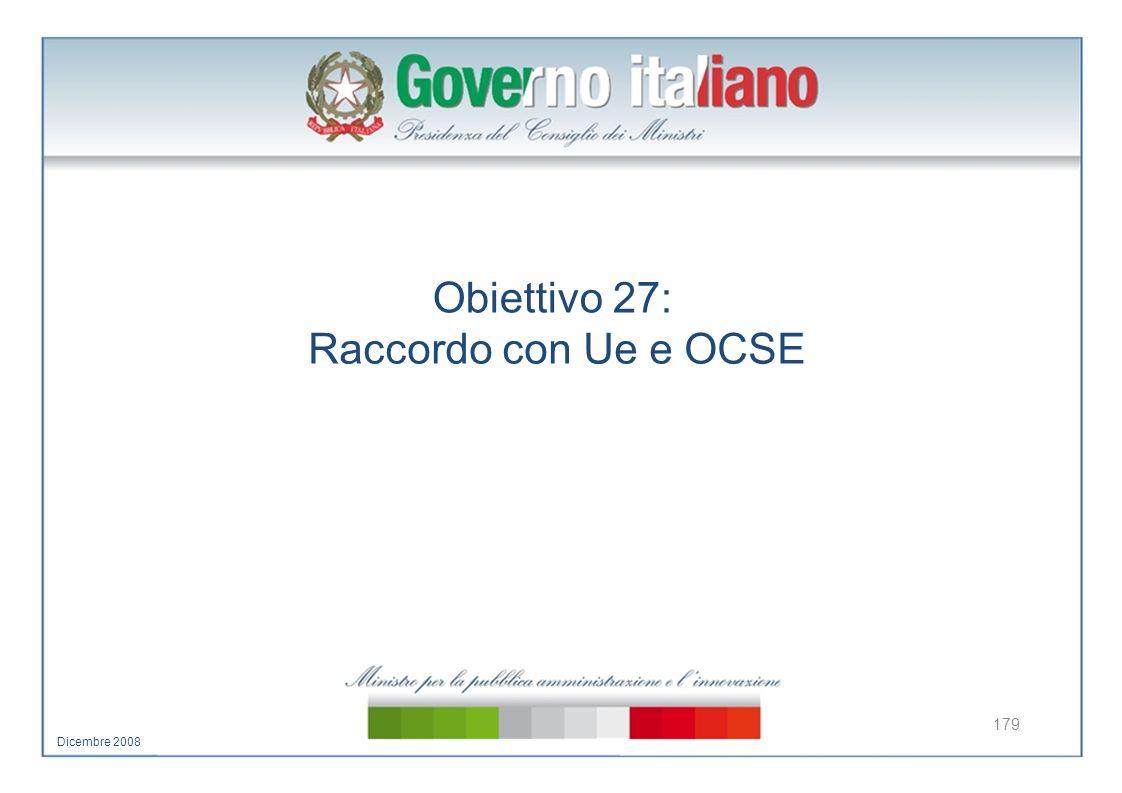 Obiettivo 27: Raccordo con Ue e OCSE 179 Dicembre 2008