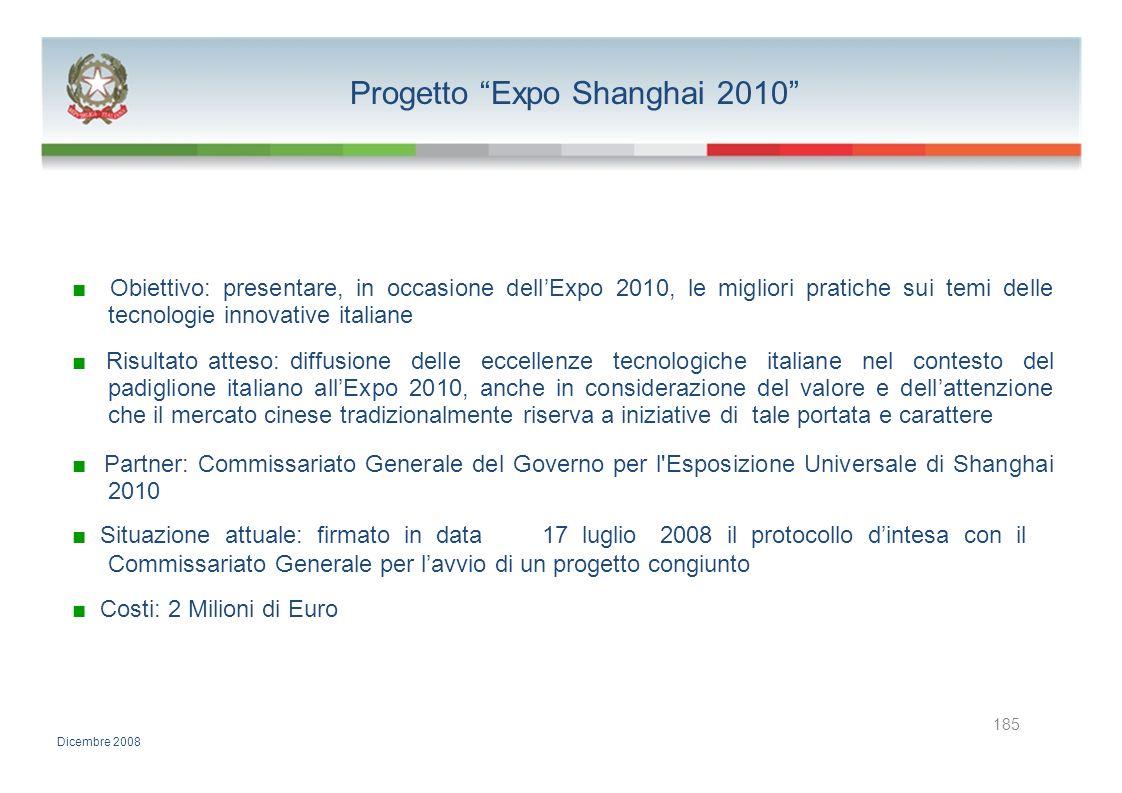 Progetto Expo Shanghai 2010 Obiettivo: presentare, in occasione dellExpo 2010, le migliori pratiche sui temi delle tecnologie innovative italiane Risu
