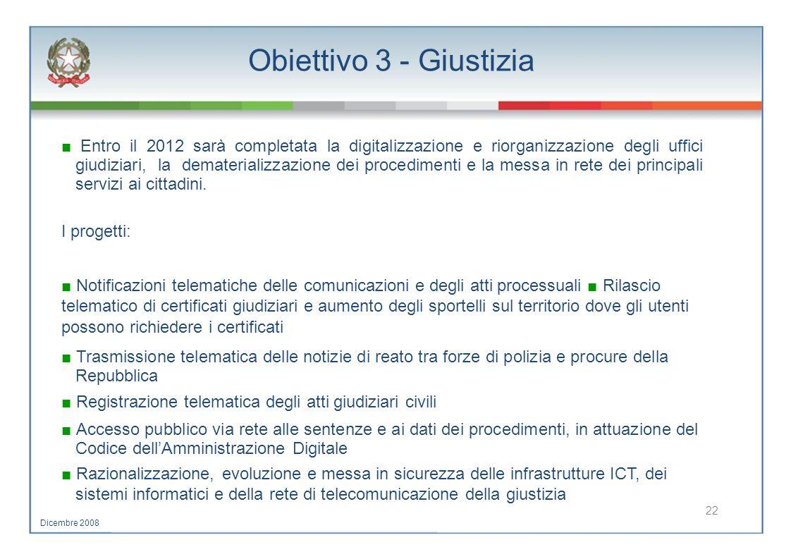 Obiettivo 3 - Giustizia Entro il 2012 sarà completata la digitalizzazione e riorganizzazione degli uffici giudiziari, la dematerializzazione dei proce