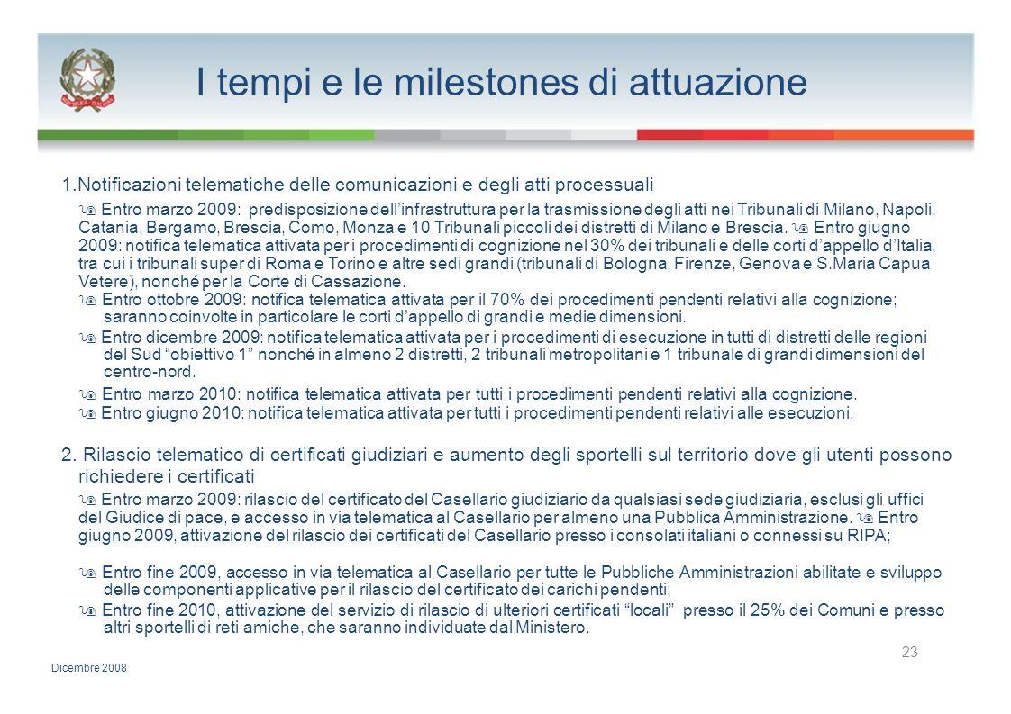 I tempi e le milestones di attuazione 1.Notificazioni telematiche delle comunicazioni e degli atti processuali Entro marzo 2009: predisposizione delli
