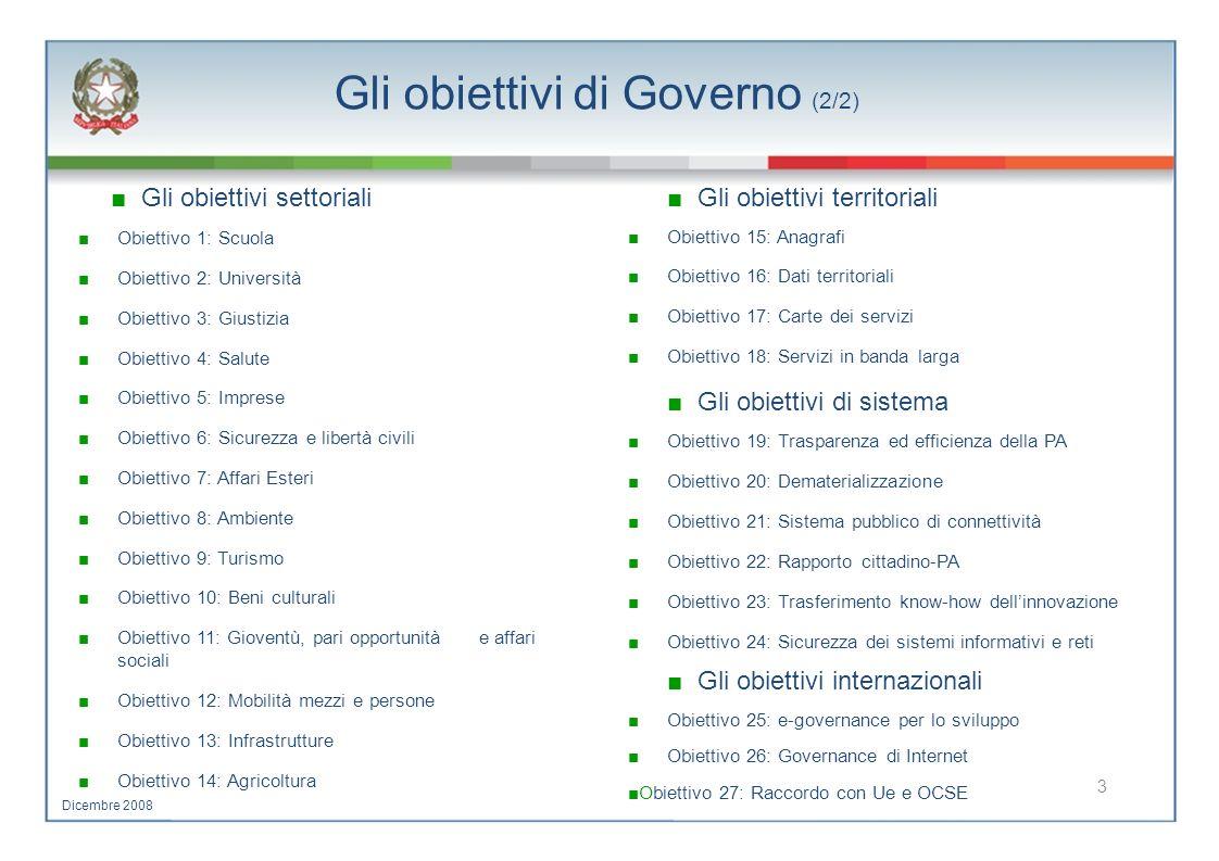 Gli obiettivi di Governo (2/2) Gli obiettivi settoriali Gli obiettivi territoriali Obiettivo 1: Scuola Obiettivo 15: Anagrafi Obiettivo 2: Università