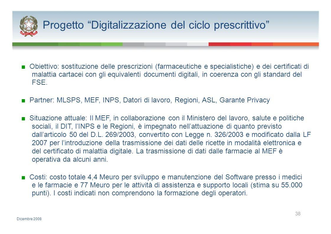 Progetto Digitalizzazione del ciclo prescrittivo Obiettivo: sostituzione delle prescrizioni (farmaceutiche e specialistiche) e dei certificati di mala