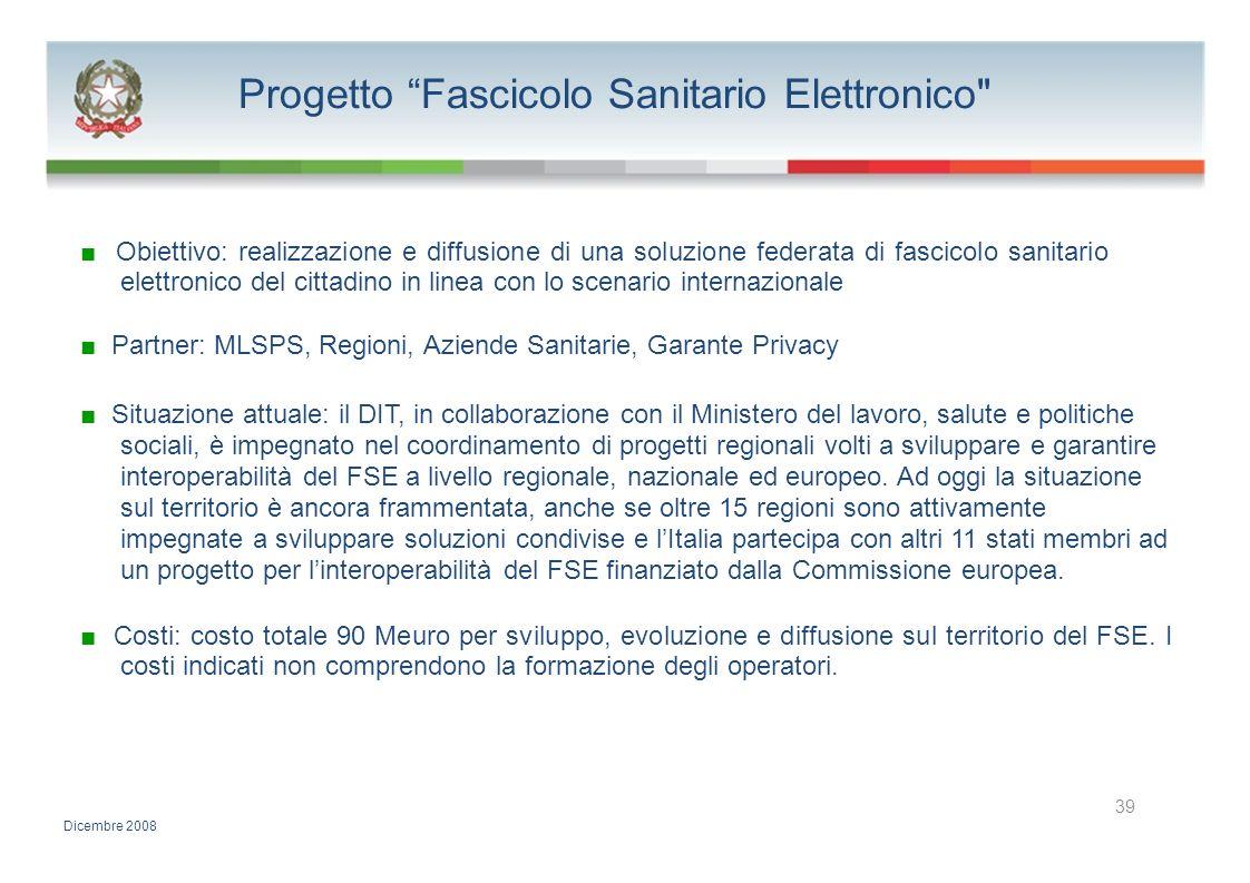 Progetto Fascicolo Sanitario Elettronico