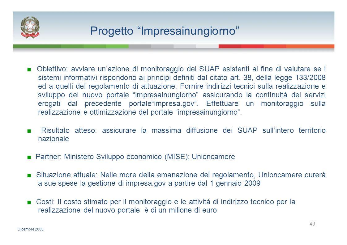 Progetto Impresainungiorno Obiettivo: avviare unazione di monitoraggio dei SUAP esistenti al fine di valutare se i sistemi informativi rispondono ai p