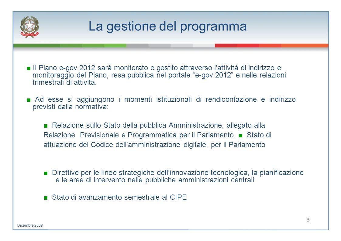 La gestione del programma Il Piano e-gov 2012 sarà monitorato e gestito attraverso lattività di indirizzo e monitoraggio del Piano, resa pubblica nel