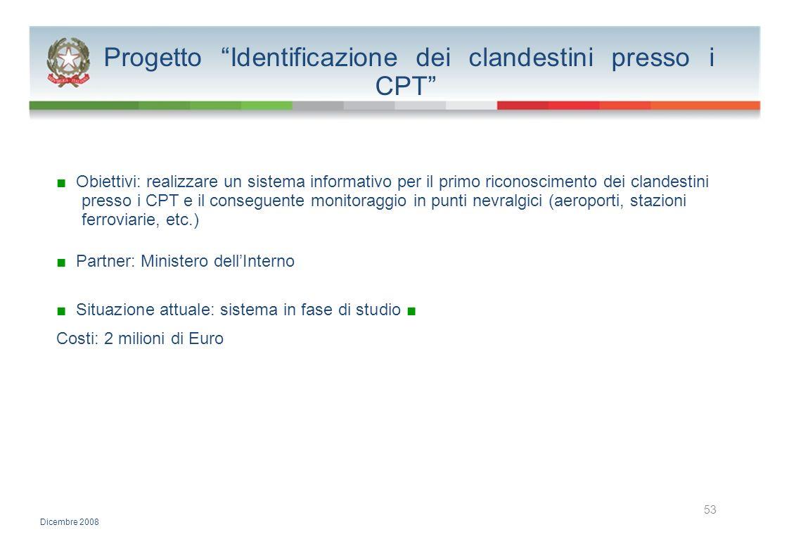 Progetto Identificazione dei clandestini presso i CPT Obiettivi: realizzare un sistema informativo per il primo riconoscimento dei clandestini presso