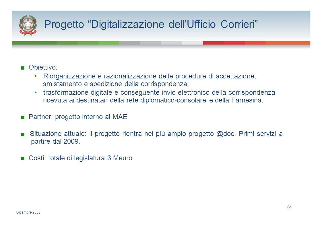 Progetto Digitalizzazione dellUfficio Corrieri Obiettivo: Riorganizzazione e razionalizzazione delle procedure di accettazione, smistamento e spedizio