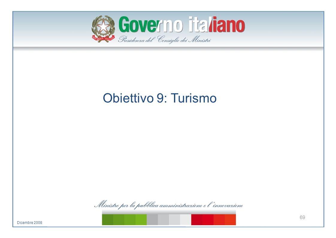 Obiettivo 9: Turismo 69 Dicembre 2008