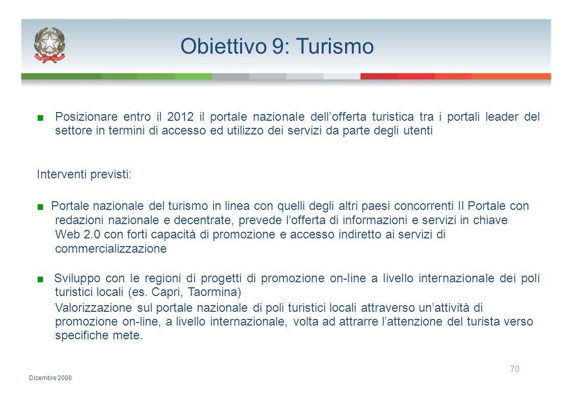Obiettivo 9: Turismo Posizionare entro il 2012 il portale nazionale dellofferta turistica tra i portali leader del settore in termini di accesso ed ut