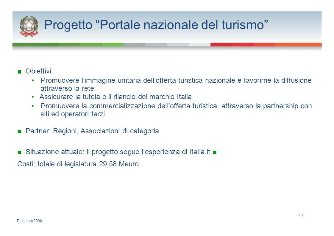 Progetto Portale nazionale del turismo Obiettivi: Promuovere limmagine unitaria dellofferta turistica nazionale e favorirne la diffusione attraverso l
