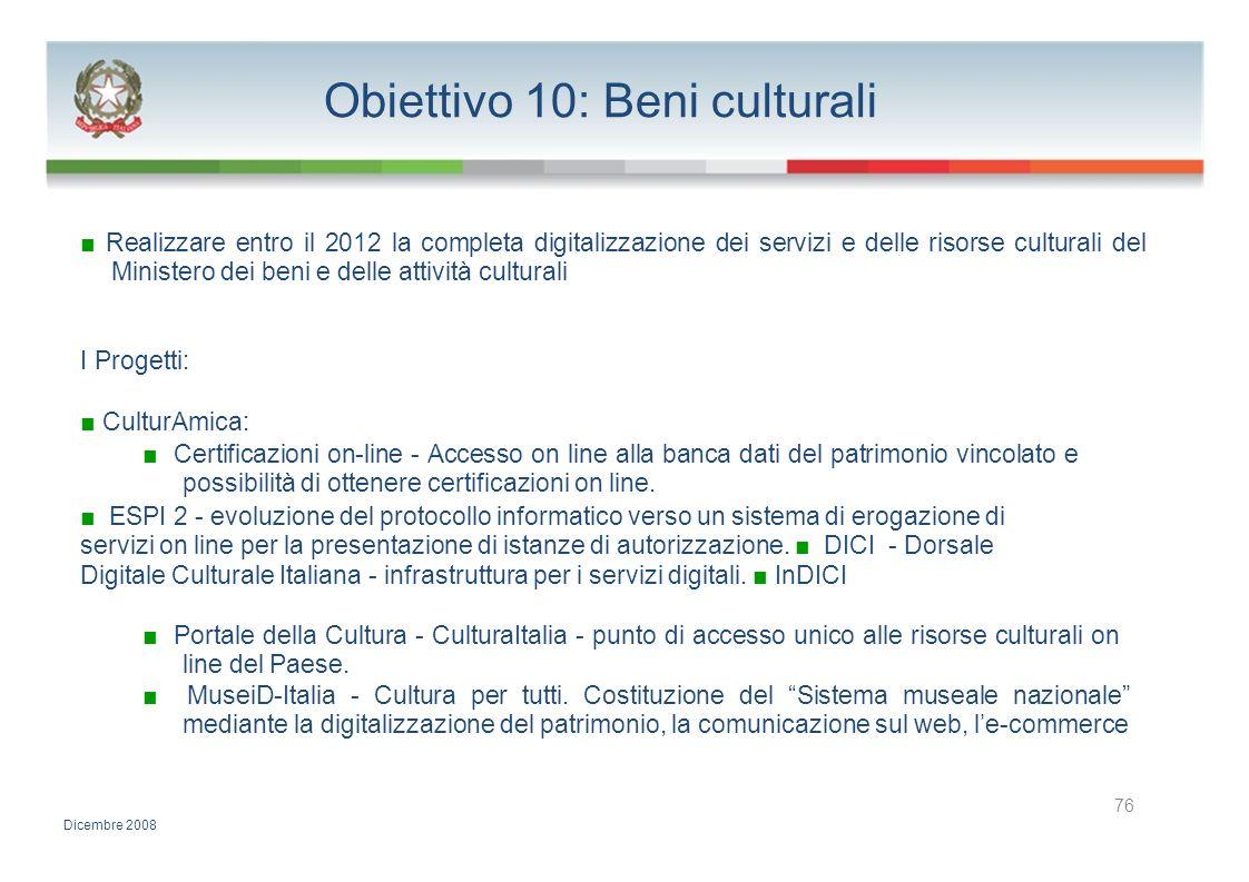 Obiettivo 10: Beni culturali Realizzare entro il 2012 la completa digitalizzazione dei servizi e delle risorse culturali del Ministero dei beni e dell