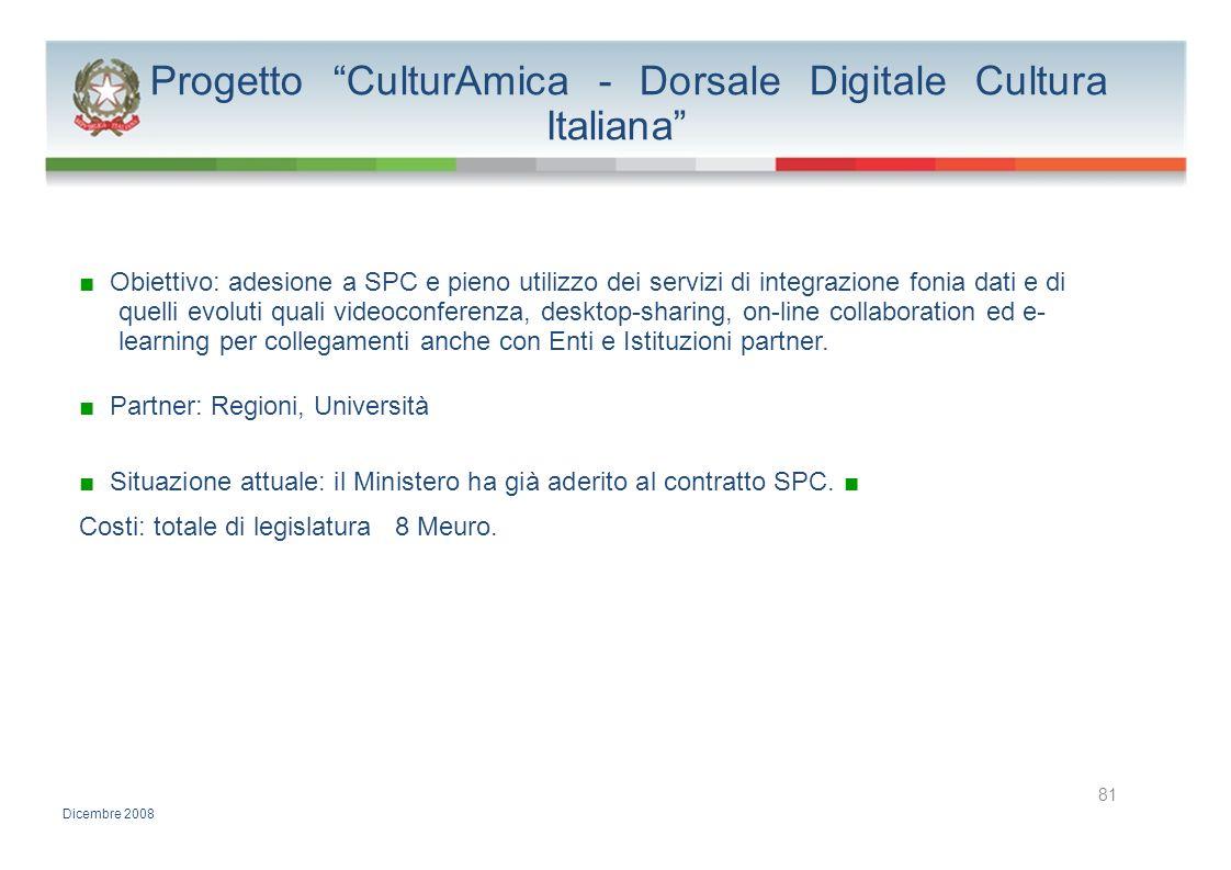 Progetto CulturAmica - Dorsale Digitale Cultura Italiana Obiettivo: adesione a SPC e pieno utilizzo dei servizi di integrazione fonia dati e di quelli