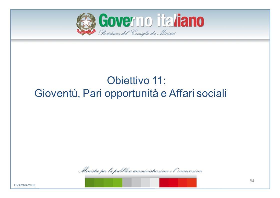 Obiettivo 11: Gioventù, Pari opportunità e Affari sociali 84 Dicembre 2008