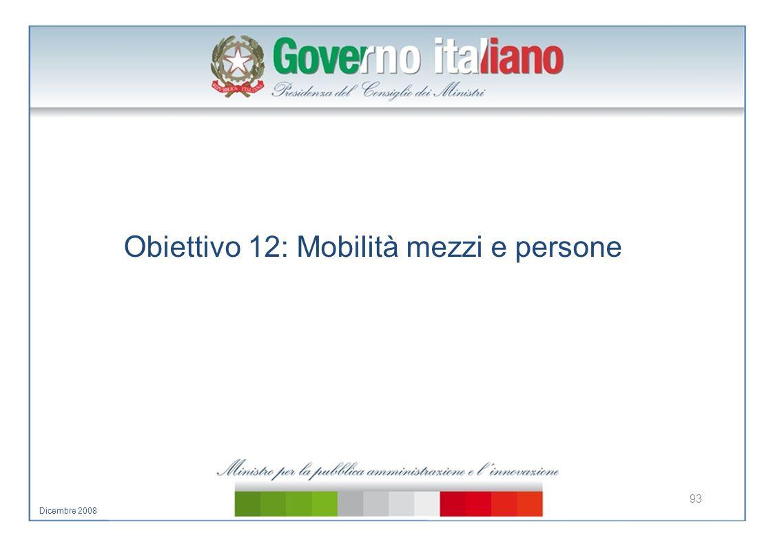 Obiettivo 12: Mobilità mezzi e persone 93 Dicembre 2008