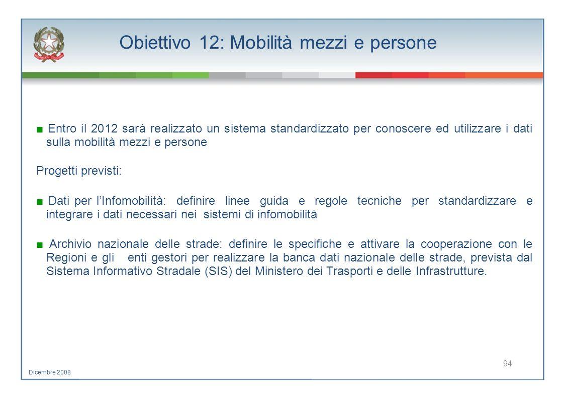 Obiettivo 12: Mobilità mezzi e persone Entro il 2012 sarà realizzato un sistema standardizzato per conoscere ed utilizzare i dati sulla mobilità mezzi