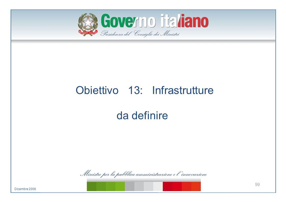 Obiettivo 13: Infrastrutture da definire 99 Dicembre 2008