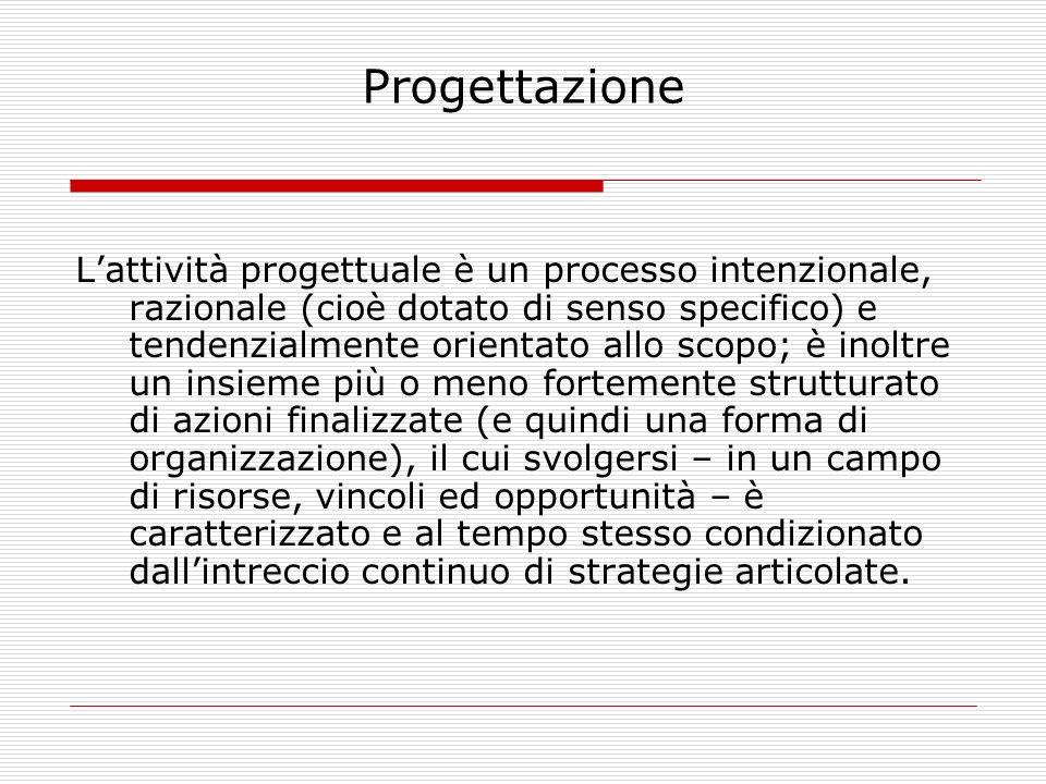 Progettazione Lattività progettuale è un processo intenzionale, razionale (cioè dotato di senso specifico) e tendenzialmente orientato allo scopo; è i