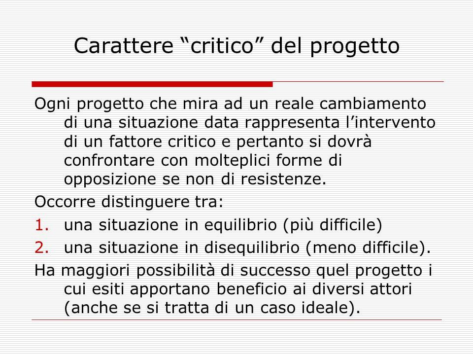 Carattere critico del progetto Ogni progetto che mira ad un reale cambiamento di una situazione data rappresenta lintervento di un fattore critico e p