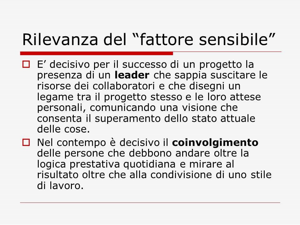Rilevanza del fattore sensibile E decisivo per il successo di un progetto la presenza di un leader che sappia suscitare le risorse dei collaboratori e