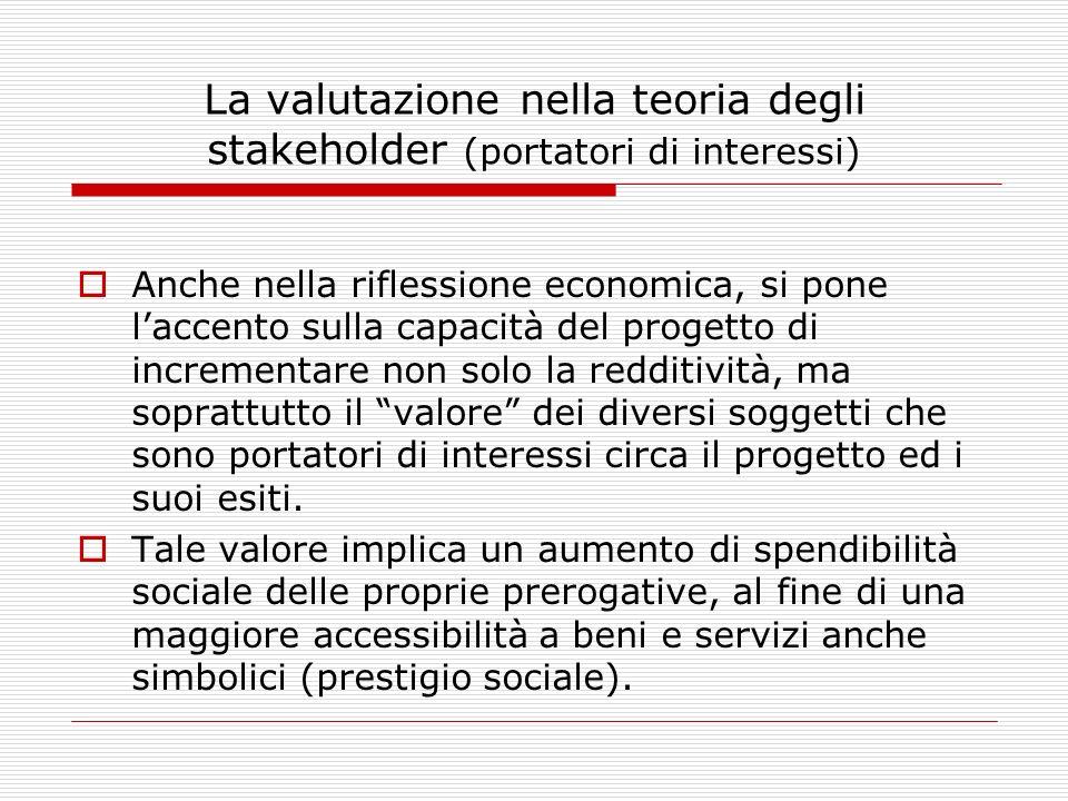 La valutazione nella teoria degli stakeholder (portatori di interessi) Anche nella riflessione economica, si pone laccento sulla capacità del progetto