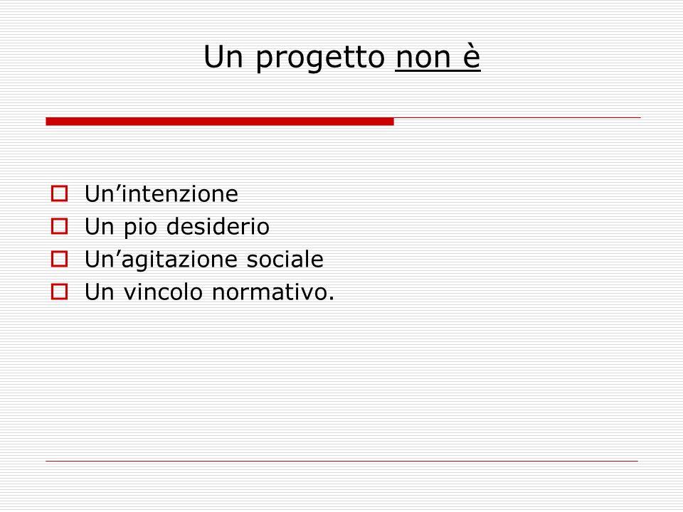 Un progetto non è Unintenzione Un pio desiderio Unagitazione sociale Un vincolo normativo.