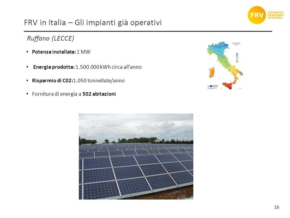 Ruffano (LECCE) 16 FRV in Italia – Gli impianti già operativi Potenza installata: 1 MW Energia prodotta: 1.500.000 kWh circa allanno Risparmio di C02:1.050 tonnellate/anno Fornitura di energia a 502 abitazioni