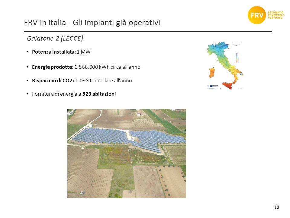 Galatone 2 (LECCE) 18 FRV in Italia - Gli impianti già operativi Potenza installata: 1 MW Energia prodotta: 1.568.000 kWh circa allanno Risparmio di CO2: 1.098 tonnellate allanno Fornitura di energia a 523 abitazioni