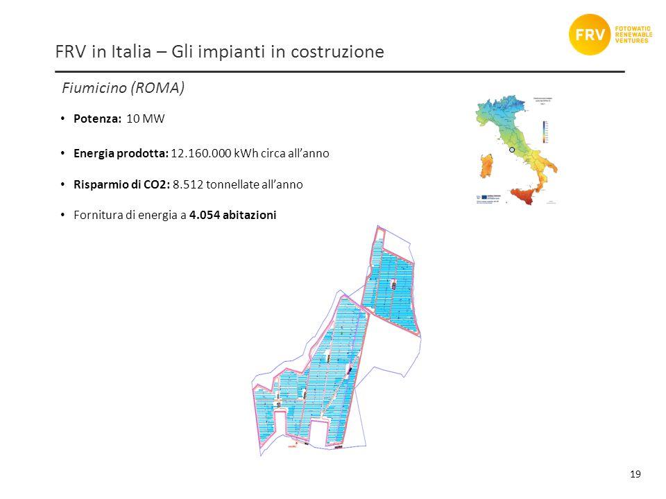 Fiumicino (ROMA) 19 FRV in Italia – Gli impianti in costruzione Potenza: 10 MW Energia prodotta: 12.160.000 kWh circa allanno Risparmio di CO2: 8.512 tonnellate allanno Fornitura di energia a 4.054 abitazioni