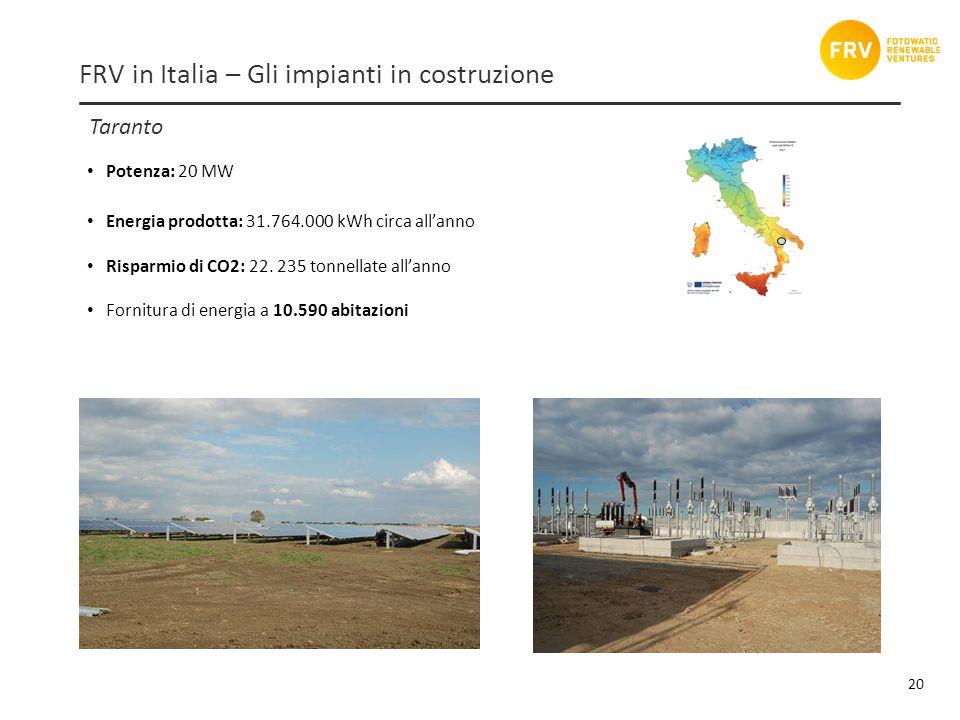 Taranto 20 FRV in Italia – Gli impianti in costruzione Potenza: 20 MW Energia prodotta: 31.764.000 kWh circa allanno Risparmio di CO2: 22.