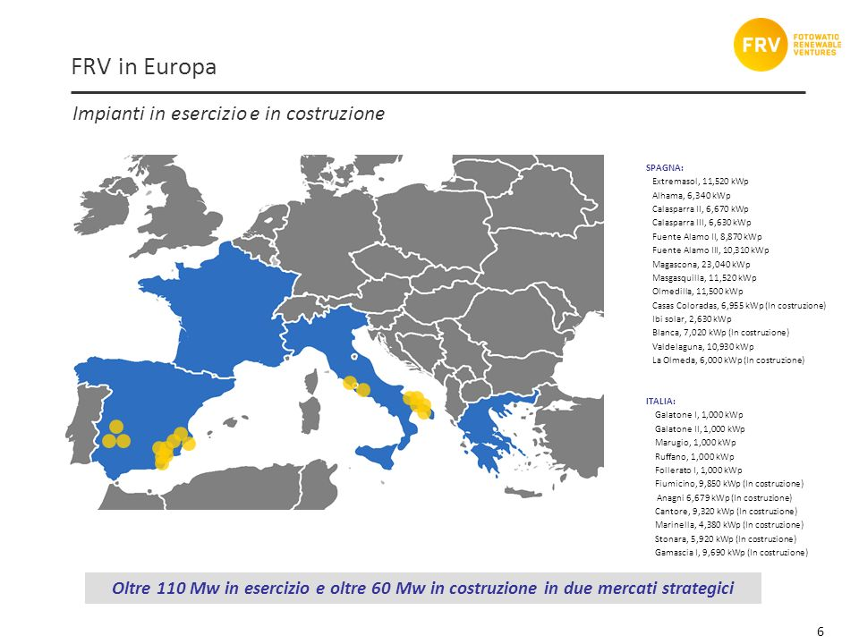 6 Impianti in esercizio e in costruzione Oltre 110 Mw in esercizio e oltre 60 Mw in costruzione in due mercati strategici FRV in Europa SPAGNA: Extremasol, 11,520 kWp Alhama, 6,340 kWp Calasparra II, 6,670 kWp Calasparra III, 6,630 kWp Fuente Alamo II, 8,870 kWp Fuente Alamo III, 10,310 kWp Magascona, 23,040 kWp Masgasquilla, 11,520 kWp Olmedilla, 11,500 kWp Casas Coloradas, 6,955 kWp (In costruzione) Ibi solar, 2,630 kWp Blanca, 7,020 kWp (In costruzione) Valdelaguna, 10,930 kWp La Olmeda, 6,000 kWp (In costruzione) ITALIA: Galatone I, 1,000 kWp Galatone II, 1,000 kWp Marugio, 1,000 kWp Ruffano, 1,000 kWp Follerato I, 1,000 kWp Fiumicino, 9,850 kWp (In costruzione) Anagni 6,679 kWp (In costruzione) Cantore, 9,320 kWp (In costruzione) Marinella, 4,380 kWp (In costruzione) Stonara, 5,920 kWp (In costruzione) Gamascia I, 9,690 kWp (In costruzione)