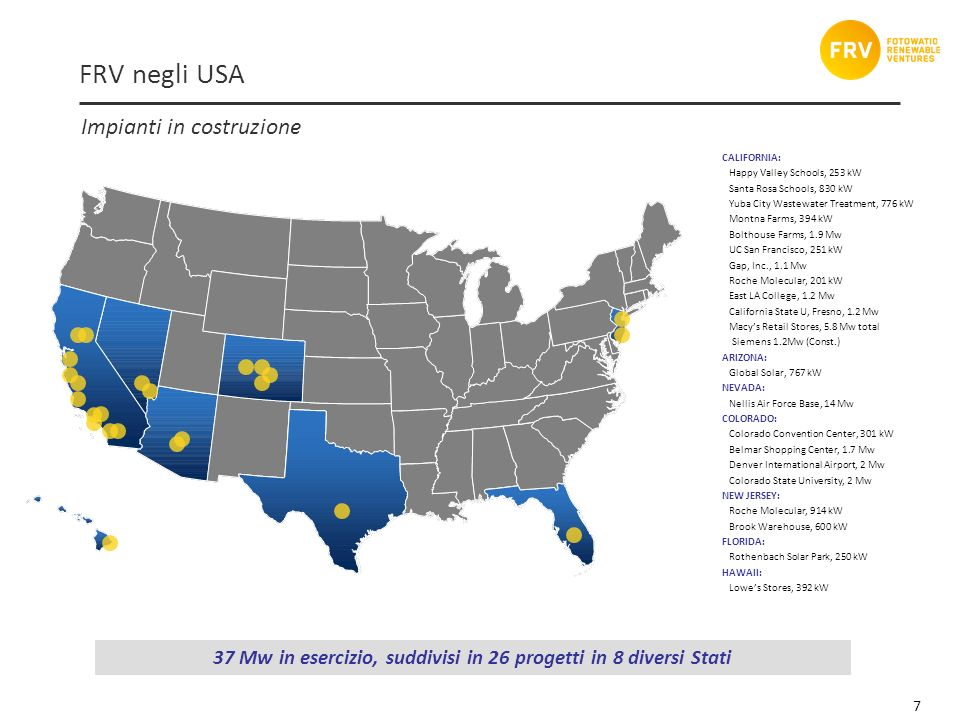 7 FRV negli USA CALIFORNIA: Happy Valley Schools, 253 kW Santa Rosa Schools, 830 kW Yuba City Wastewater Treatment, 776 kW Montna Farms, 394 kW Boltho