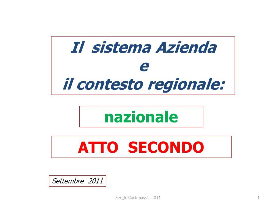 1 Il sistema Azienda e il contesto regionale: ATTO SECONDO Settembre 2011 Sergio Cortopassi - 2011 nazionale