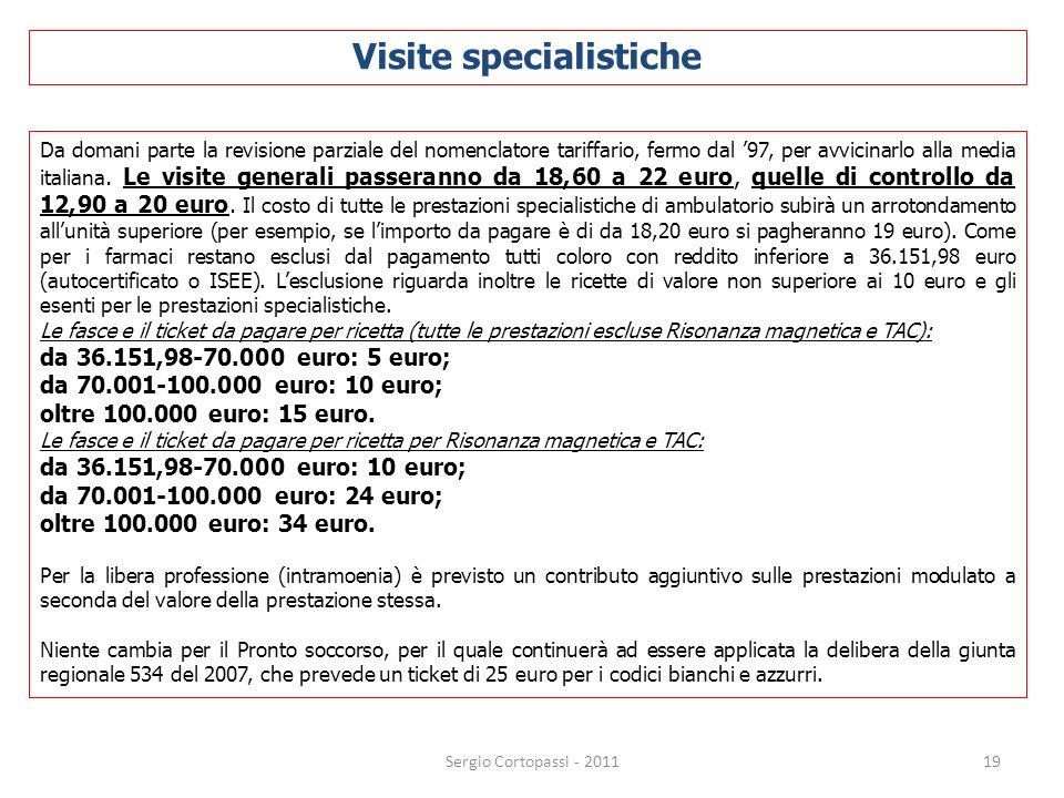 19 Da domani parte la revisione parziale del nomenclatore tariffario, fermo dal 97, per avvicinarlo alla media italiana. Le visite generali passeranno
