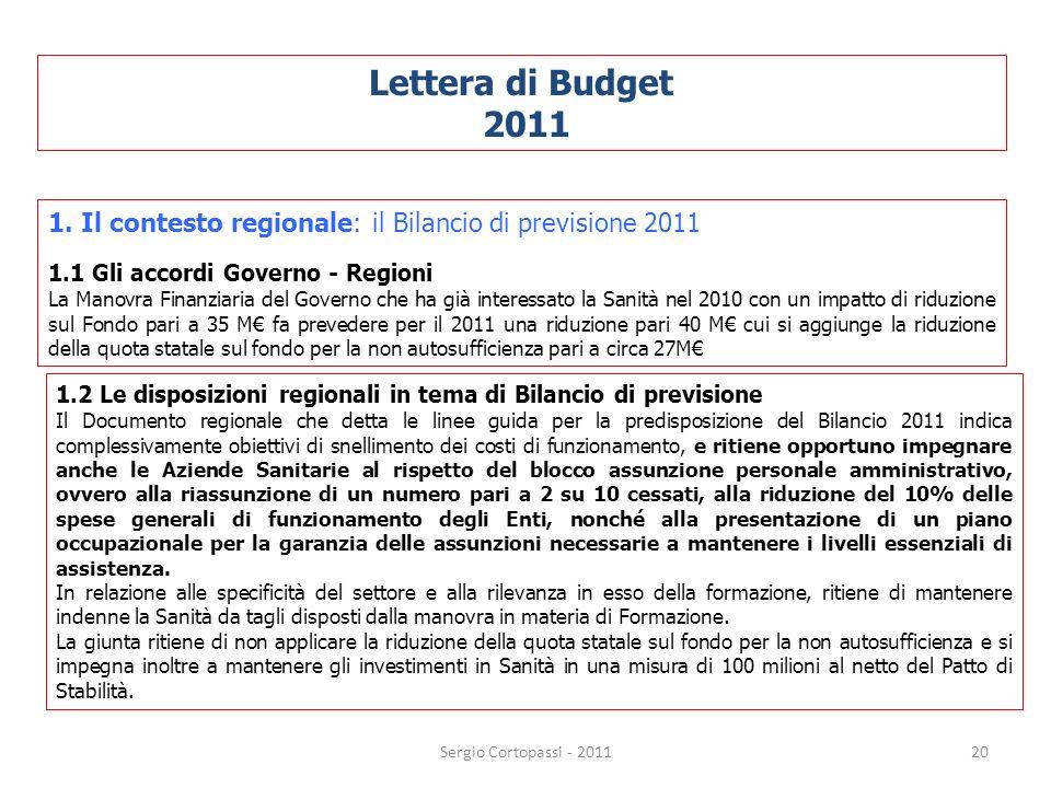 20 Lettera di Budget 2011 1. Il contesto regionale: il Bilancio di previsione 2011 1.1 Gli accordi Governo - Regioni La Manovra Finanziaria del Govern