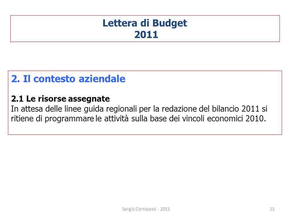 21 Lettera di Budget 2011 2. Il contesto aziendale 2.1 Le risorse assegnate In attesa delle linee guida regionali per la redazione del bilancio 2011 s