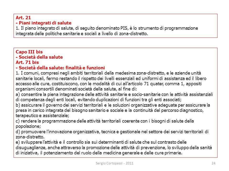 24 Art. 21 - Piani integrati di salute 1. Il piano integrato di salute, di seguito denominato PIS, è lo strumento di programmazione integrata delle po