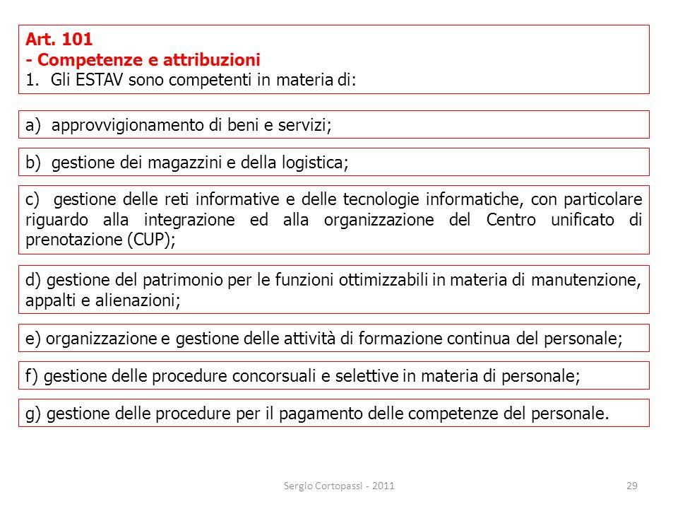29 Art. 101 - Competenze e attribuzioni 1.Gli ESTAV sono competenti in materia di: Sergio Cortopassi - 2011 a) approvvigionamento di beni e servizi; b