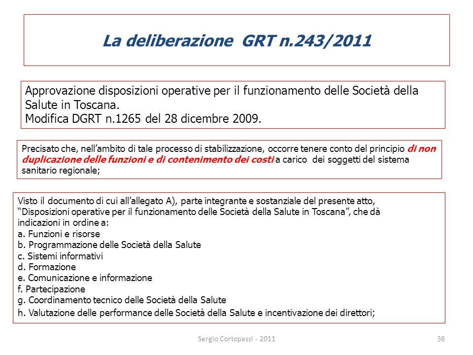 La deliberazione GRT n.243/2011 36 Approvazione disposizioni operative per il funzionamento delle Società della Salute in Toscana. Modifica DGRT n.126