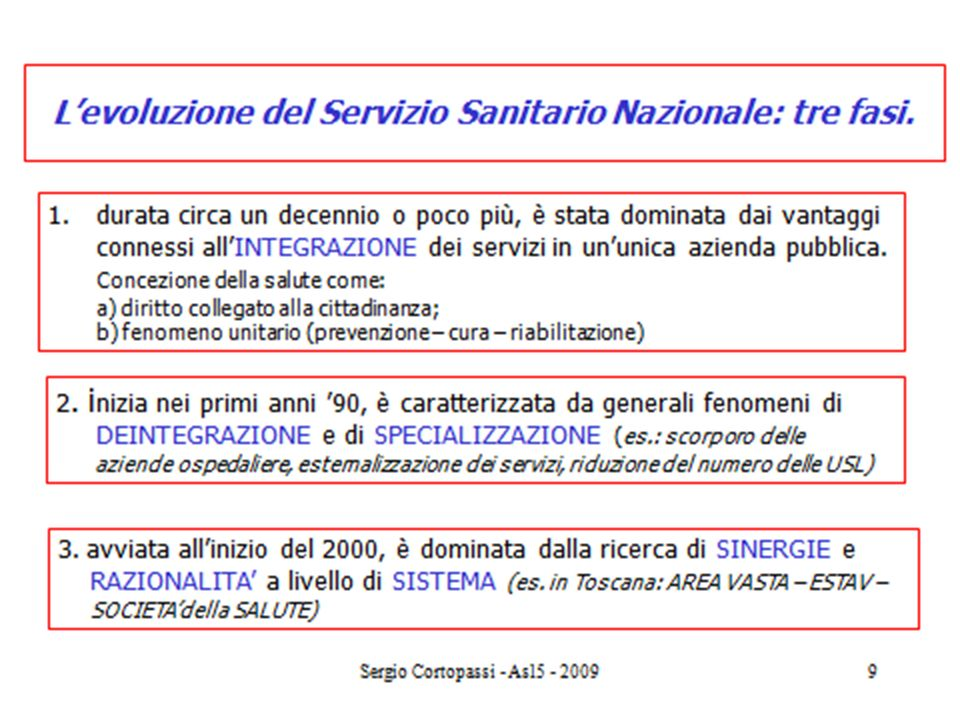 6 Levoluzione del Servizio Sanitario in Toscana: dalla competizione alla cooperazione.